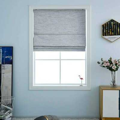 "Washable Cordless Roman Shades,Double Tone Color Jacquard Textured Woven 29X64""Stone - Wayfair"