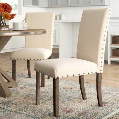Ismay Linen Upholstered Dining Chair in Beige (set of 2) - Wayfair