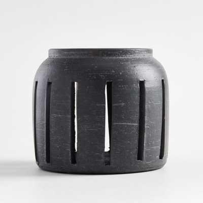Porto Small Grey Ceramic Hurricane - Crate and Barrel