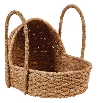 Handwoven Seagrass Doll Bassinet with Handles - Nomad Home