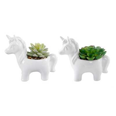 FLORA BUNDA 4.75 in. Set of 2 White Ceramic Unicorn with Faux Succulents - Home Depot