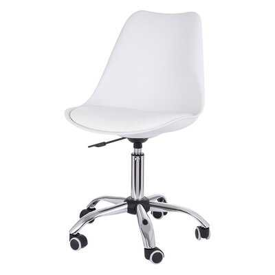 White Armless Office Chair Mid Back Leather Adjustable Height - Wayfair