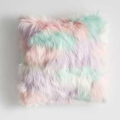 Fur-rific Faux-Fur Pillow Covers, 18x18, Unicorn - Pottery Barn Teen