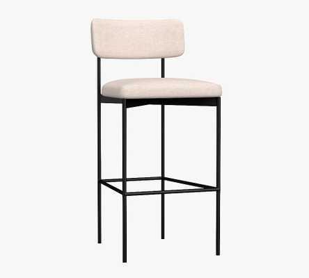 Maison Upholstered Bar Height Bar Stool, Bronze Leg, Brushed Crossweave Light Gray - Pottery Barn
