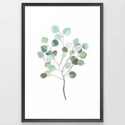 Eucalyptus Leaves Botanical Print Framed Art Print by Becky Bailey - Scoop Black - LARGE (Gallery)-26x38 - Society6