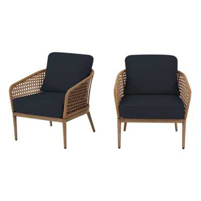 Hampton Bay Coral Vista Brown Wicker Outdoor Patio Lounge Chair with CushionGuard Midnight Navy Blue Cushions (2-Pack) - Home Depot