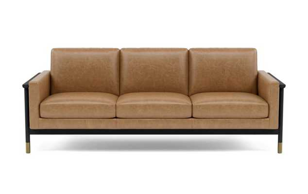 Jason Wu Leather Sofa with Brown Palomino Leather and Matte Black with Brass Cap legs - Interior Define