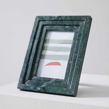 "Stacked Marble Frame, Flute Rectangle, 4""x6"", Green - West Elm"