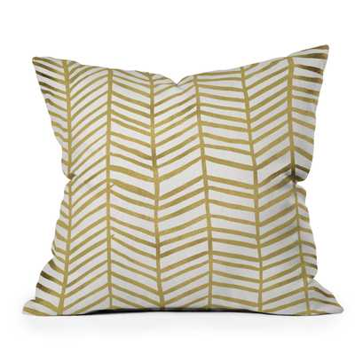 """Gold Herringbone by Cat Coquillette - Outdoor Throw Pillow 16"""" x 16"""" - Wander Print Co."""