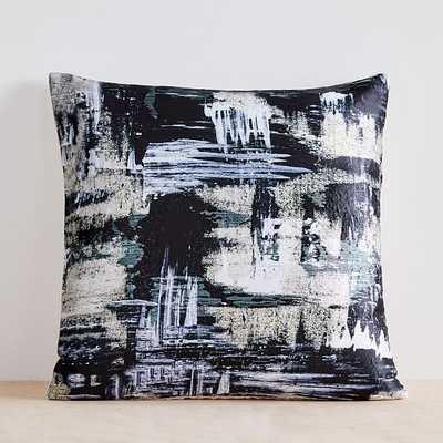 "Painterly Brocade Pillow Cover, 20""x20"", Black - West Elm"