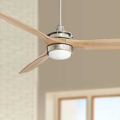 """52"""" Windspun Brushed Nickel and Natural Wood LED Ceiling Fan - Style # 57J95 - Lamps Plus"""