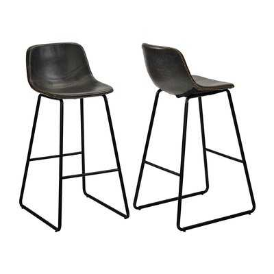 Low Back Footrest Vintage Leatherier Height Bar Stools Dining Chairs Set Of 2 Grey - Wayfair