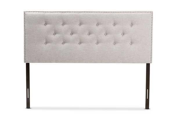 Baxton Studio Windsor Modern and Contemporary Greyish Beige Fabric Upholstered King Size Headboard - Lark Interiors