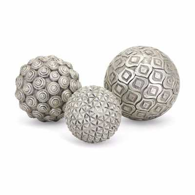 Benjara Nahara Spherical Glass and poly resin Silver Decorative Balls (Set of 3) - Home Depot