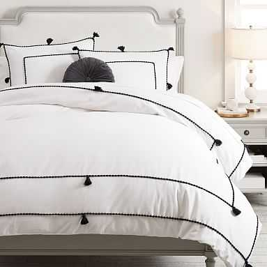 Chambray Tassel Duvet Cover, Full/Queen, Black/White - Pottery Barn Teen