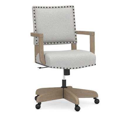 Manchester Upholstered Swivel Desk Chair, Seadrift Frame, Park Weave Ash - Pottery Barn