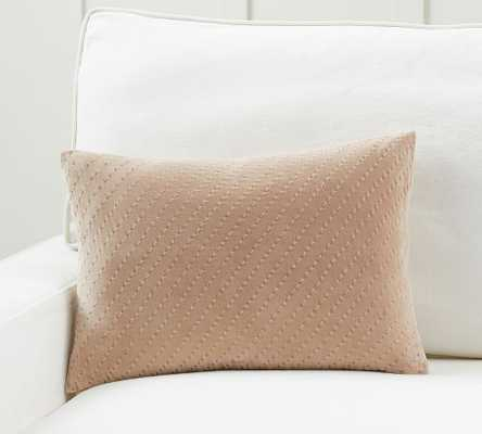 "Ceres Velvet Pickstitch Lumbar Pillow Cover, 14 x 20"", Taupe - Pottery Barn"
