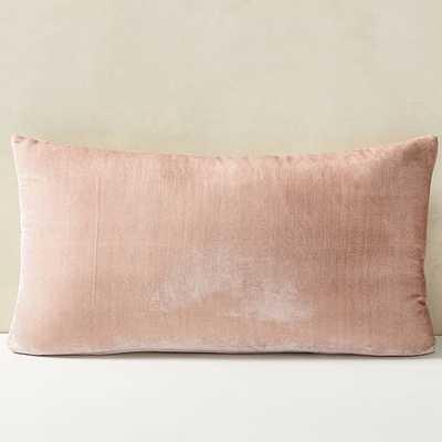 """Lush Velvet Pillow Cover, Dusty Blush, 14""""x26"""" - West Elm"""