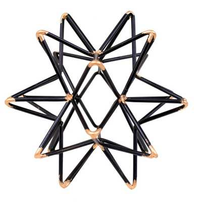 Benjara Star shaped Iron Wire Decor Intersecting with Accented Joints in Black and Gold - Home Depot
