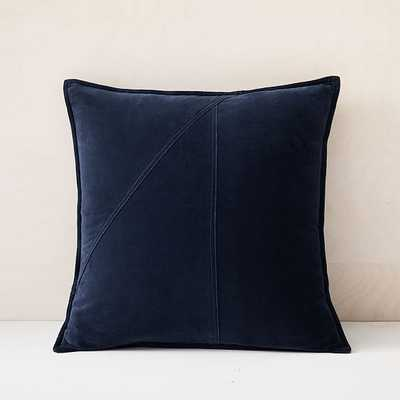 "Washed Cotton Velvet Pillow Cover, Set of 2, Midnight, 18""x18"" - West Elm"