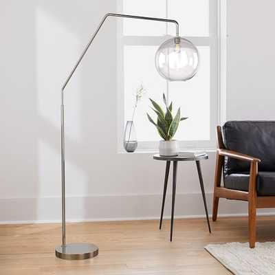 Sculptural Overarching Floor Lamp, Globe Large, Clear, Polished Nickel - West Elm