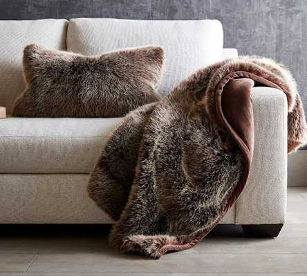 "Faux Fur Luxe Mink Throw, 50 x 60"", Luxe Mink - Pottery Barn"