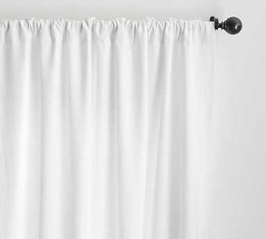 "Custom Classic Belgian Linen Curtain, White, 48 x 128"" - Pottery Barn"