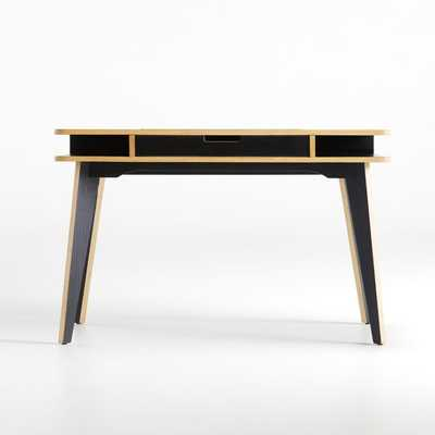 Anvers Black Desk with Power - Crate and Barrel