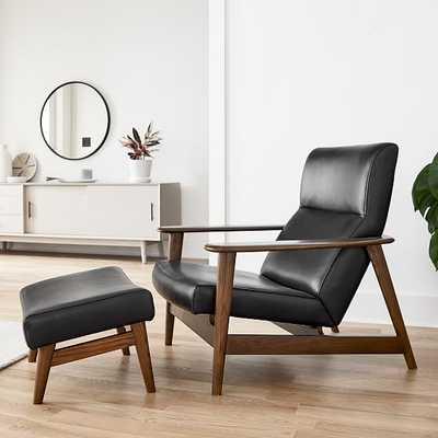 Mid-century Show Wood Highback Chair, Sierra Leather, Licorice, Pecan - West Elm