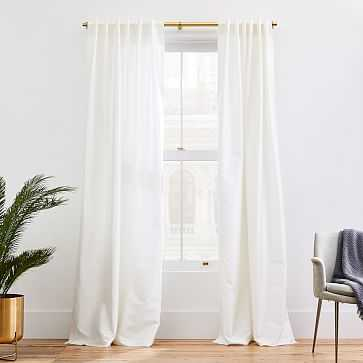 "Dupioni Silk Curtain, 48""x96"", Stone White-Unlined - West Elm"