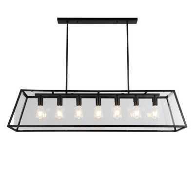 Warehouse of Tiffany Sheriz 13 in. 7-Light Indoor Black Finish Chandelier with Light Kit - Home Depot