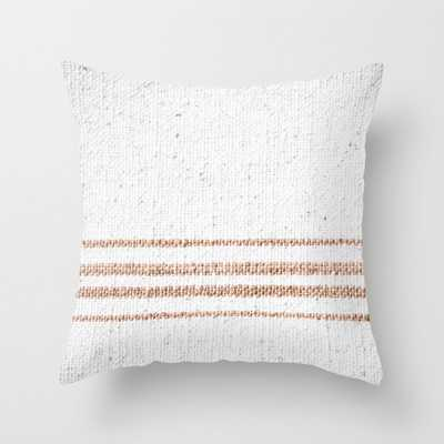"Farmhouse Grain Sack Rust Stripes Couch Throw Pillow by Christina Lynn Williams - Cover (24"" x 24"") with pillow insert - Indoor Pillow - Society6"