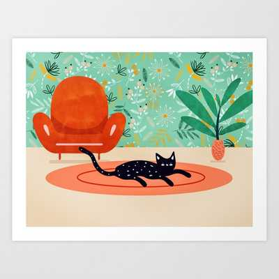 Boho Cat #illustration #whimsical Art Print by 83 Orangesa(r) Art Shop - SMALL - Society6