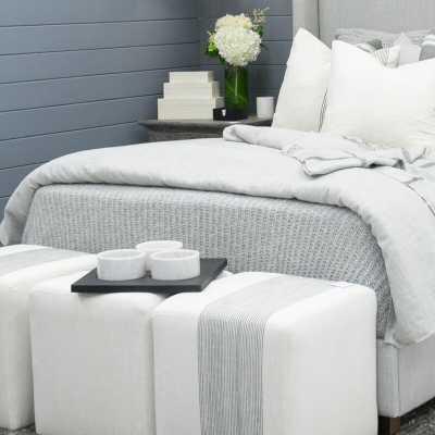 """Imagine Home Azur 18"""" Square Striped Cube Ottoman Fabric: Gray Pinstripe - Perigold"""