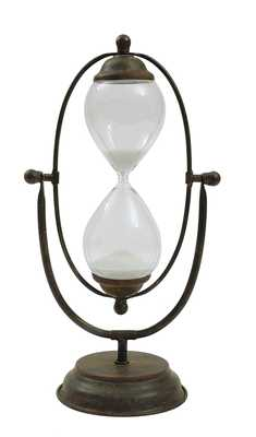 Decorative Rust Color Metal Hourglass with White Sand - Nomad Home