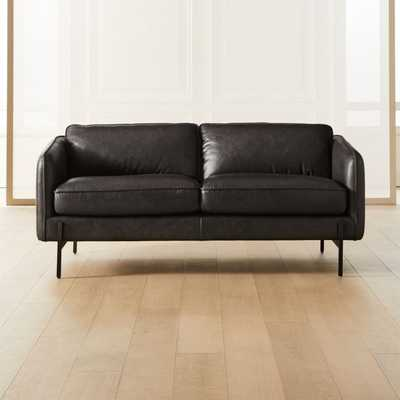 Hoxton Black Leather Loveseat with Black Legs - CB2