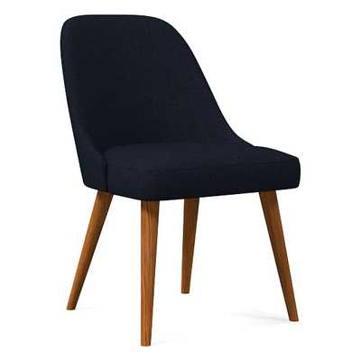 Mid-Century Upholstered Dining Chair, Twill, Black, Indigo, Pecan - West Elm