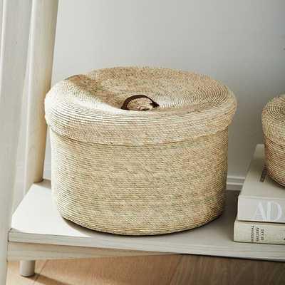 Mexican Palm Leaf Basket, Round Lidded, Medium - West Elm