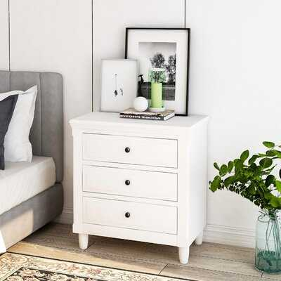 Nightstand Storage Cabinet With 3 Drawers, White - Wayfair