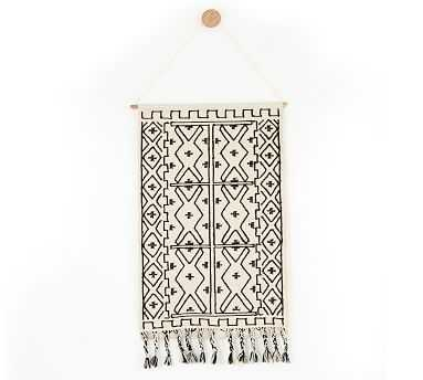 """Black & White Printed Tapestry Wall Hanging, 36"""" X 60"""" - Pottery Barn"""