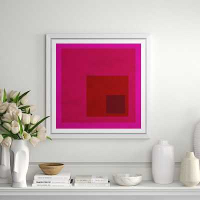 """Soicher Marin 'Albers Influence' - Picture Frame Print on Canvas Frame Color: White, Matte Color: White, Size: 33.25"""" H x 33.25"""" W x 1.75"""" D - Perigold"""
