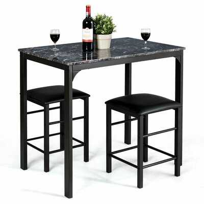 3 Piece Counter Height Dining Set Faux Marble Table-Black - Wayfair