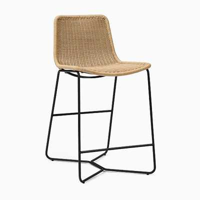 Slope Outdoor Counter Stool, All Weather Wicker, Natural - West Elm