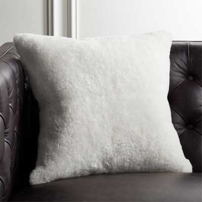 "18"" Shorn Sheepskin White Pillow with Feather-Down Insert - CB2"