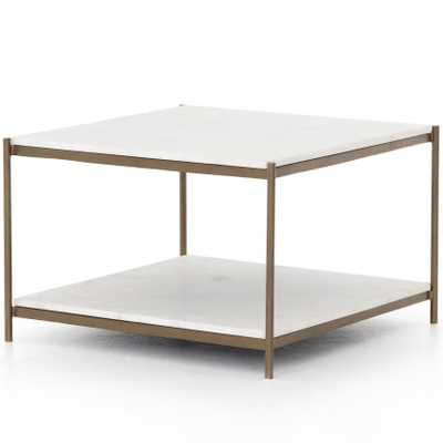 Luna Modern Classic White Marble Top Antique Gold Metal Coffee Table - Kathy Kuo Home