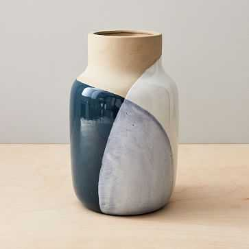 Barro Vase, Large, Natural + Blue - West Elm