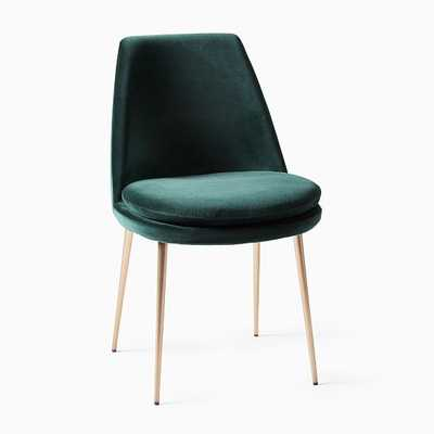 Finley Low Back Dining Chair, Astor Velvet, EverGreen, Light Bronze-individual - West Elm