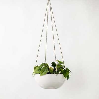 Minimal Hanging Planter Stoneware/Glaze IVory White 9 Inch - West Elm
