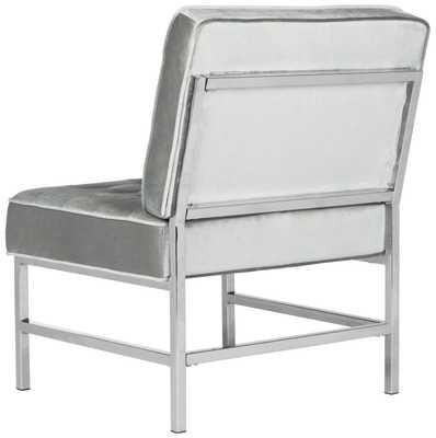 Ansel Modern Velvet Tufted Chrome Accent Chair - Light Grey - Arlo Home - Arlo Home