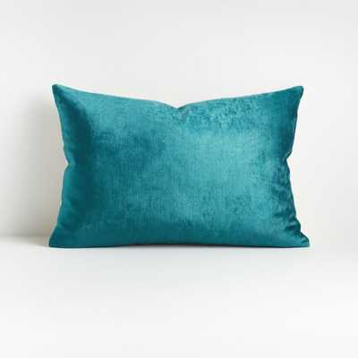 "Viva Turquoise 22""x15"" Crushed Velvet Pillow - Crate and Barrel"